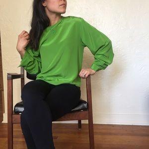 Vintage silk blouse lime green CLIO Medium
